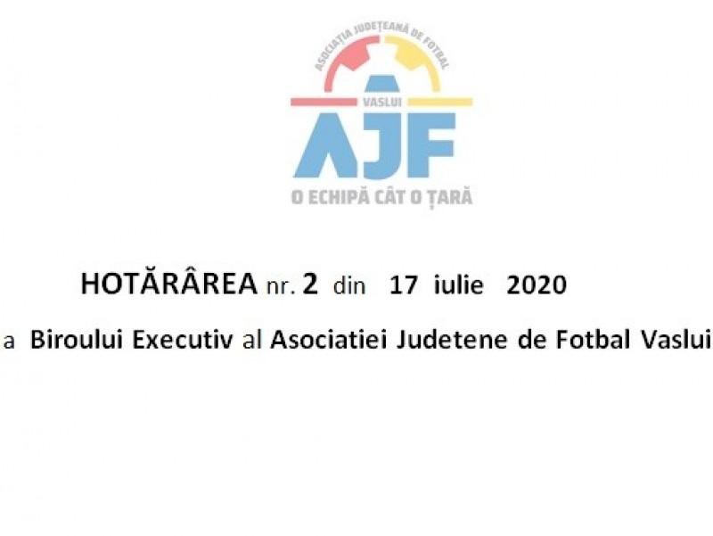 HOTĂRÂREA Biroului Executiv al Asociatiei Judetene de Fotbal Vaslui